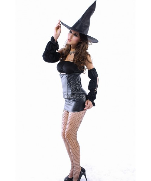 Wonderful hot witch Halloween cosplay costume sexy suit with a hat
