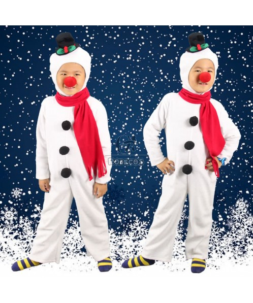 2015 New Style White Children Christmas Costume with Red Copper-nose  Snowman Suit