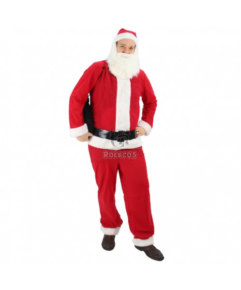 New Style of  Red Santa Claus Christmas Costume With White Mustache