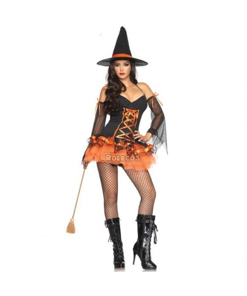 Womens witches halloween Costumes Black and Orange sexy fancy Dress