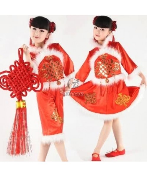 China Knot Children Christmas Costume with White Plush Side