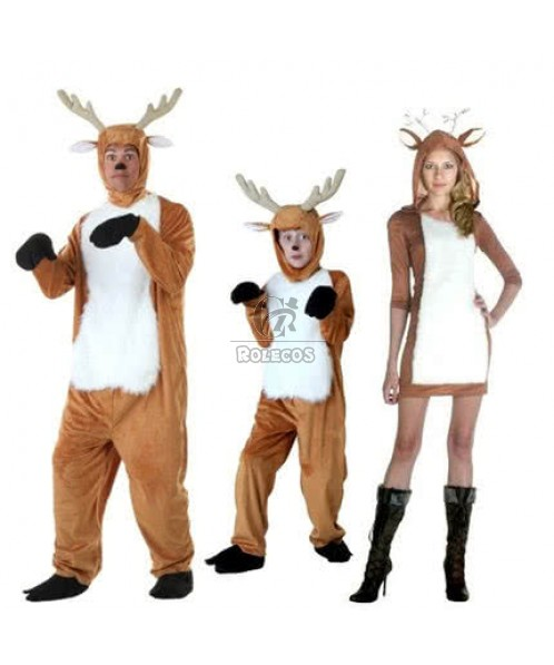 New Style Brown Family Christmas Costume of Cartoon Modelling of Reindeer Animal Suit