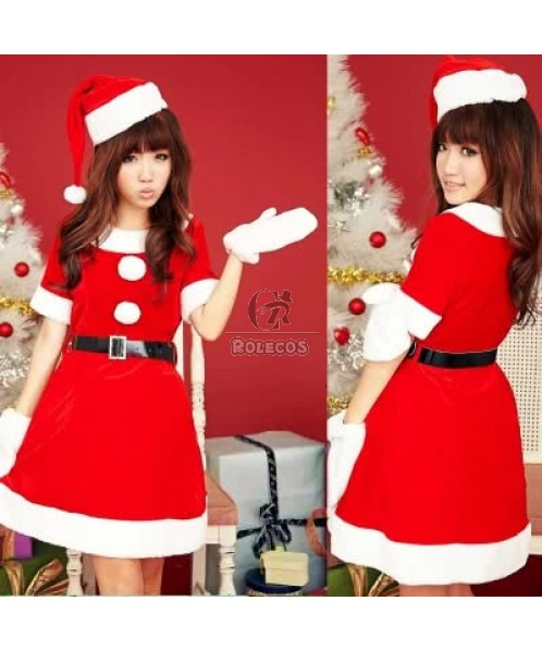 Red beautiful Christmas party dress for momen white fur edge