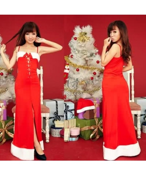 2015 hot Christmas costumes female red mopping the floor long dress