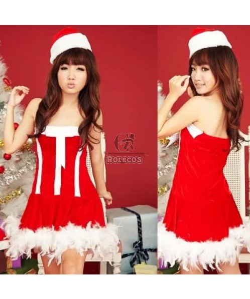 HOT red dress mixed white christmas costume girls party uniform