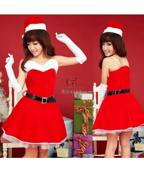 Christmas costumes women party dress with white gloves