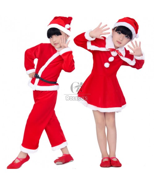 2015 Beautiful Red Children Christmas Costume with White Plush Side