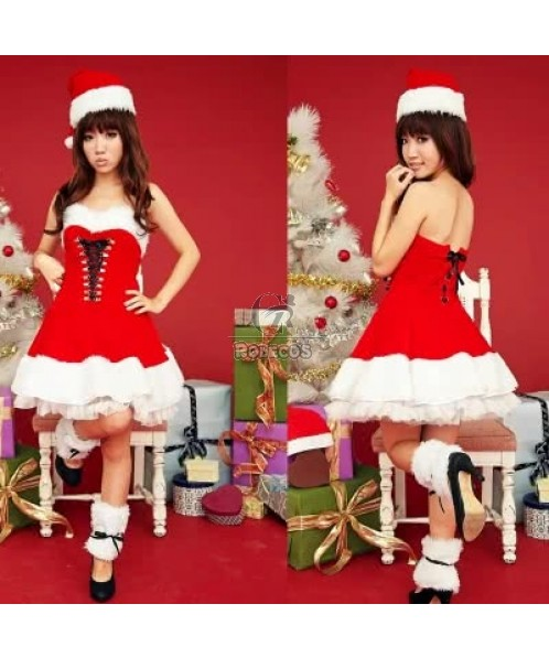 Red beautiful Christmas costumes party dress for momen white fur edge