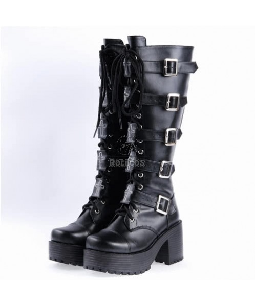 High Boots Combat Riding Motorcycle Flat Tall Punk Womens