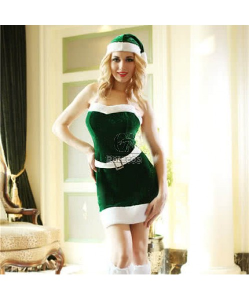Green Strapless christmas costume sexy dress cute hat