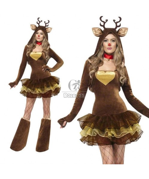 Tutu cute little reindeer Christmas costume party dress animal COS uniforms