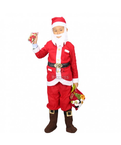New Style Red Children Christmas Costume with Candy Bag