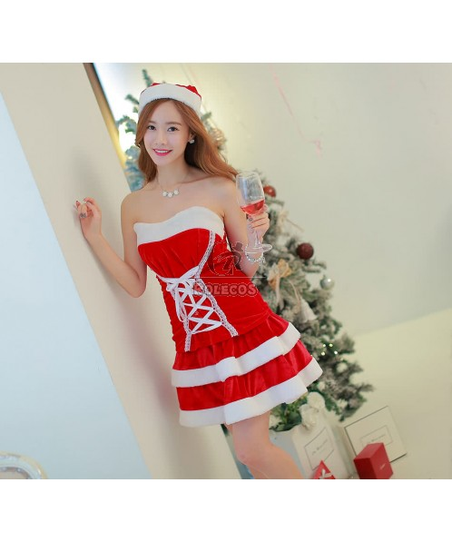 Red off-the-shoulder dress christmas costume for sexy girl and women
