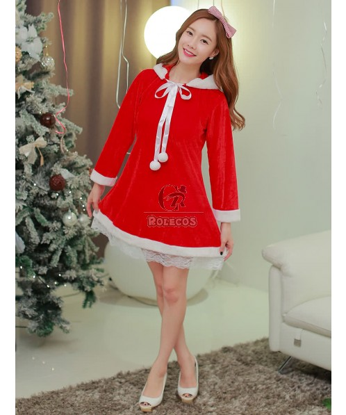 Beautiful cute Christmas long-sleeved dress for women