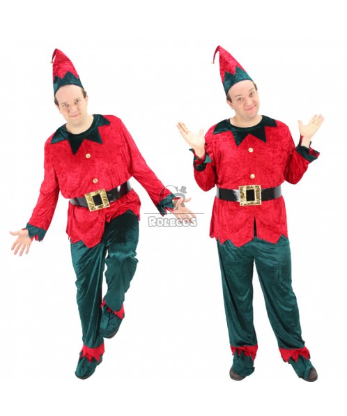 New Style of  Red and Green Men Christmas Costume of Elf  Suit