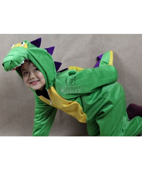 Green Children Christmas Costume of Cartoon Modelling of Dinosaurs Animal Suit