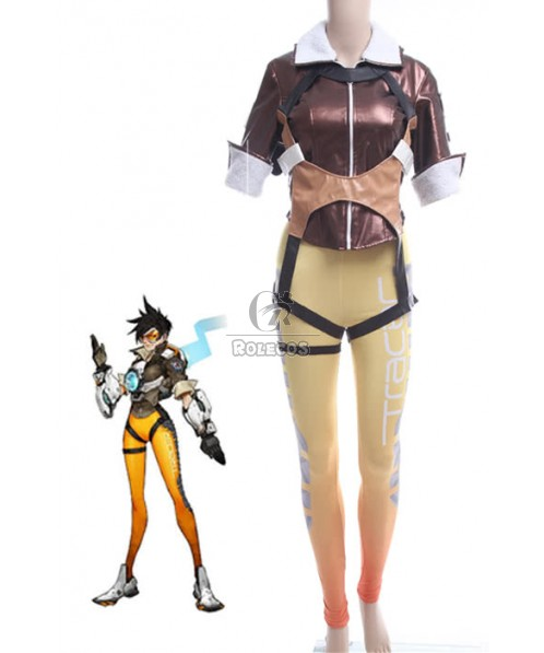 Tracer Lena Oxton Fight Cosplay Costumes