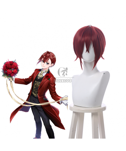 Twisted Wonderland Riddle Rosehearts Short Brownish Red Cosplay Wigs