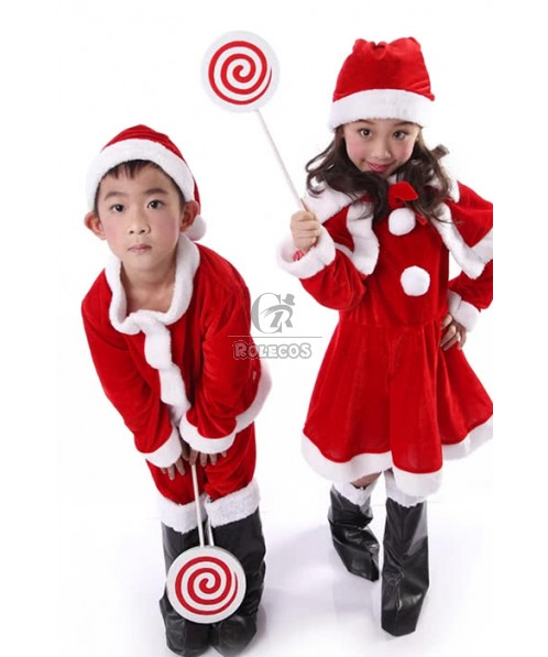 Red Children Christmas Costumes with White Plush Side