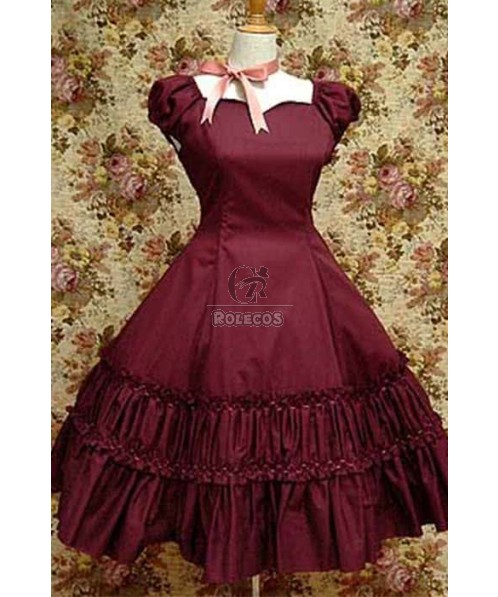 Lolita Noble Corduroy dress Red pleated skirt with special design