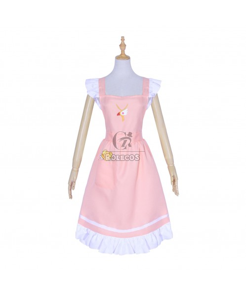 Women's Lovely Big Bowknot Pink Cooking Maidservant Aprons With Pocket Costume Uniform