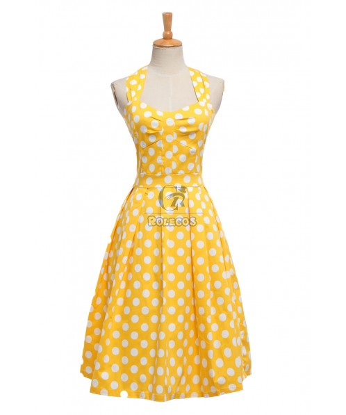 Summer Hepburn Style Wave Dot Backless Girls Women Medium Expansion Skirts Dresses
