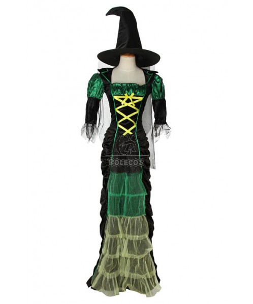 skintight Long witch Halloween cosplay costume Green mixed black dress