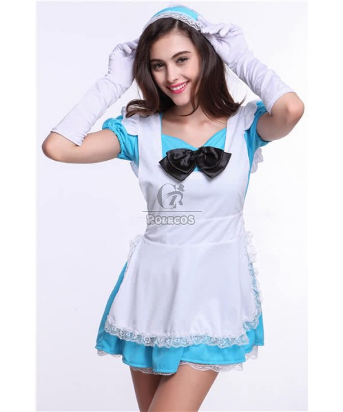 Blue Sweet Japanese Maid Costume Princess Auto Show Cosplay Outfit