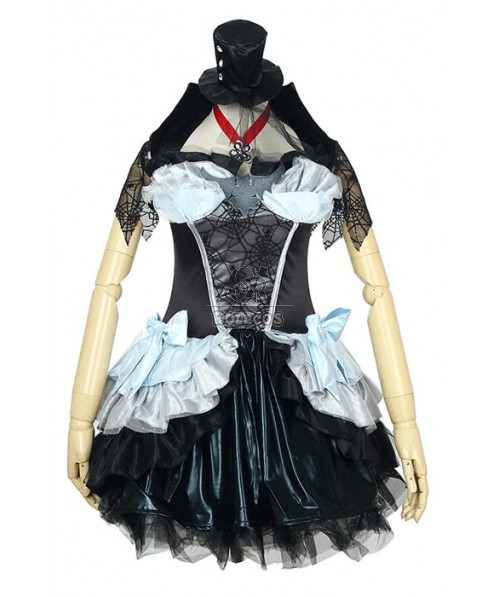 Black Halloween costume vampire Queen dress with blue bowknot