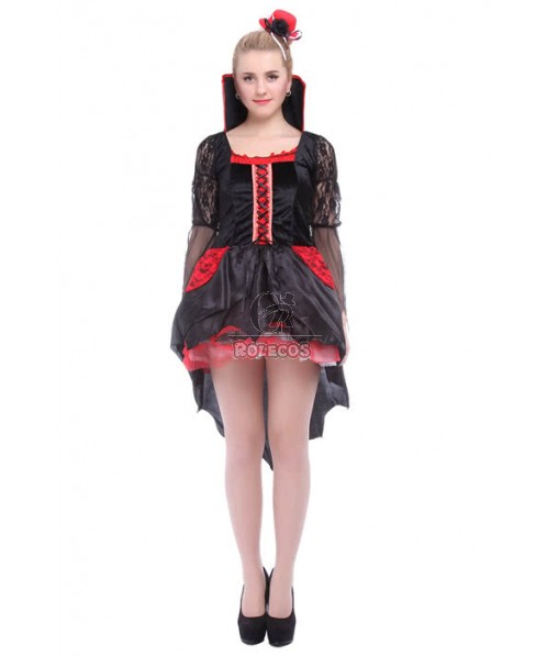 Women Girl Sexy Black Halloween Party Dress Cosplay Costume