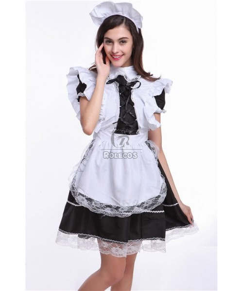 Black and White Japanese Maid Costumes of Lotus Leaf Lace Party Dress