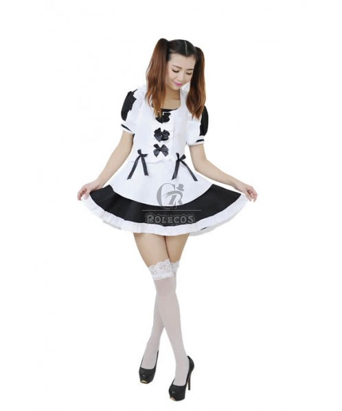 Black & White Sexy Maidservant Outfit Cosplay Costume