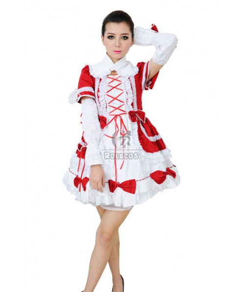Gothic Retro Pretty Lolita Long Sleeves Red and White Dress