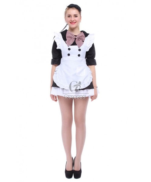 Japanese Maid Costumes With Stripe Bow And White Pinafore