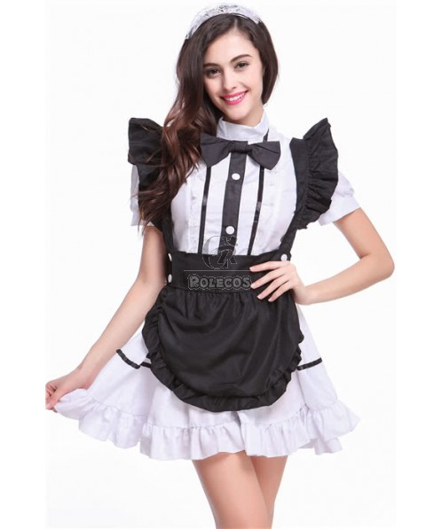 Black and White Anime Cosplay Costume of Maidservant Outfit Cafe Attendant