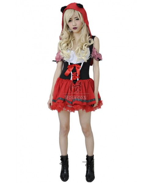 Little Red Riding Hood Halloween Costume Red Fashion Dress
