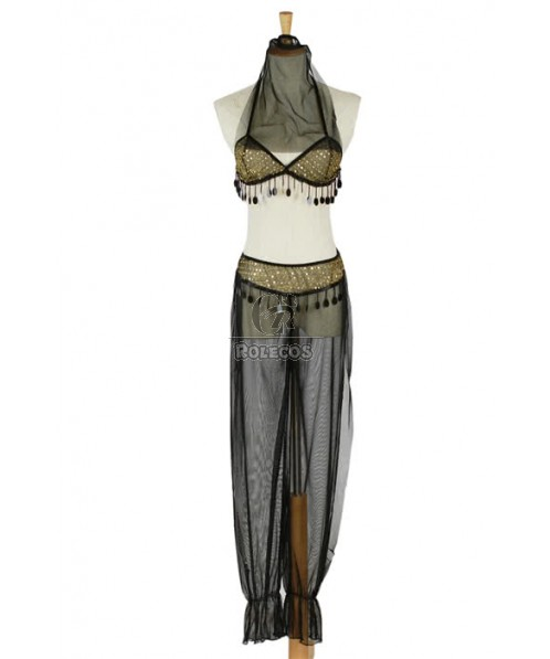 Black Genie Halloween Costumes of the Style of Women's Wear Dance Clothes