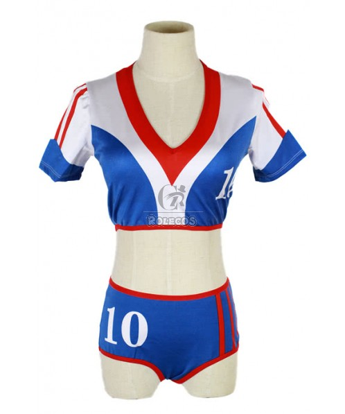 New Arrival Football Cheering leader Costumes with Blue Shorts