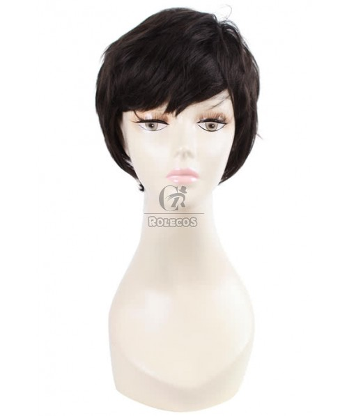 33cm short Natural Deep Brown Fashion Small roll women wig