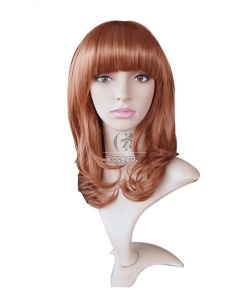 45cm Medium Long Fashion Wig Golden Brown Curly Women Hair