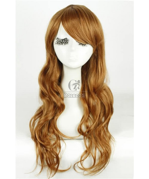65cm Long Fashion Wig Golden Brown Small Wave Women Hair