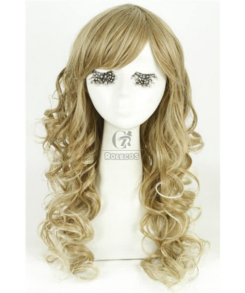 High Quality 58cm Long Fashion Wig Cool Ash Blonde  Wave Women Hair