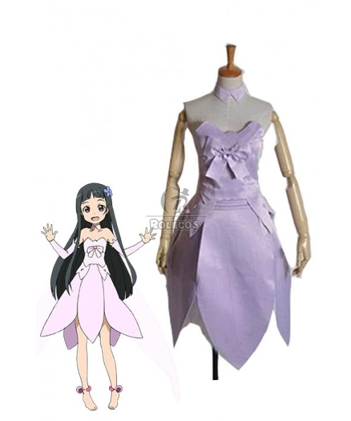 Sword Art Online Yui Cosplay Costume Purple With Cute Bow-knot