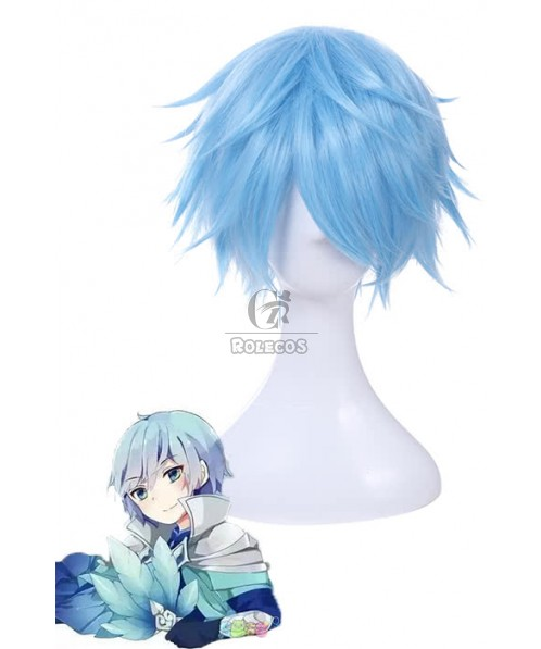 30CM Short Cosplay Wig King of Glory Zhuge Liang Light Blue Anime Party Hair