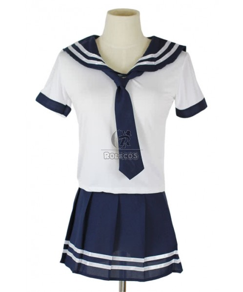 Classic White and Blue School Girl Sailor Costume of Students with Short Sleeves