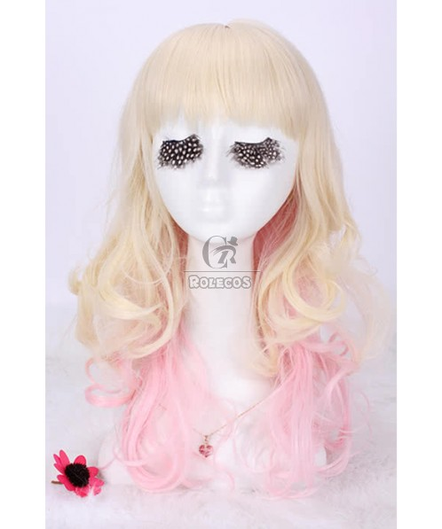 NEW fashion Mar.50cm Long Mix beige pink Cosplay wigs Party Hairs