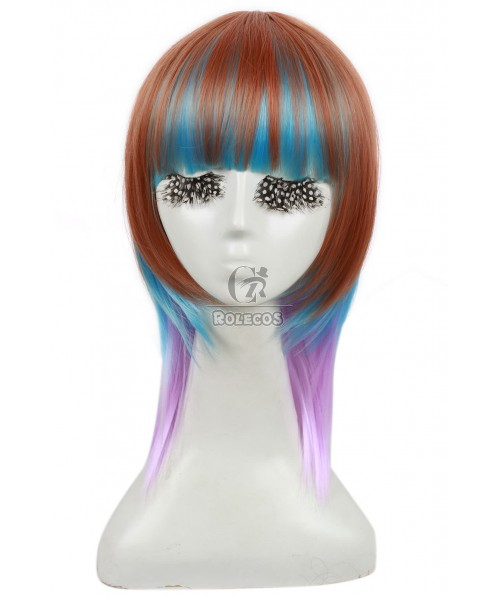 40cm Medium Mixed Color Straight Anime cosplay wig