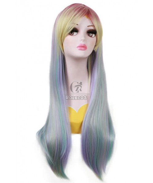 70cm Long Cosplay Wig With Rainbow Mixed Blue Straight Fade Women Hair