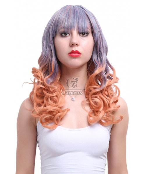 Cosplay Wigs Women Medium Long Curly Wigs Synthetic Mixed Color Hair Wigs