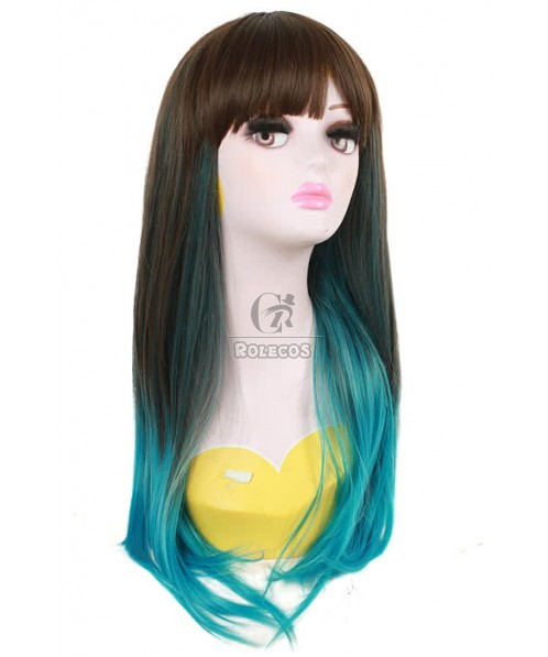 60cm Long Cosplay Wig Mixed Color Blue Straight Fade Women Hair